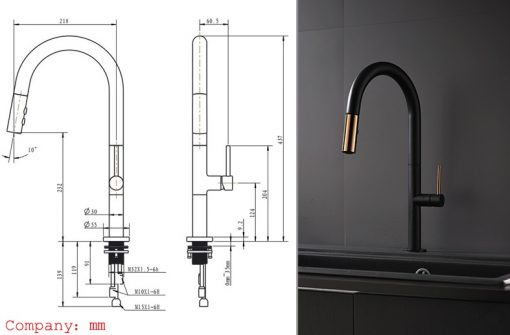 Čierna Vodovodná batéria do kuchyne MJ5580