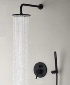 Čierny sprchový set - Round