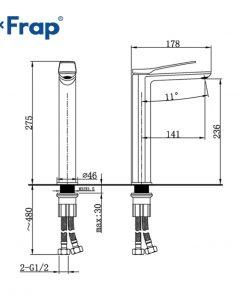 Výšková kúpeľnová batéria Frap Y1125 - Čierna