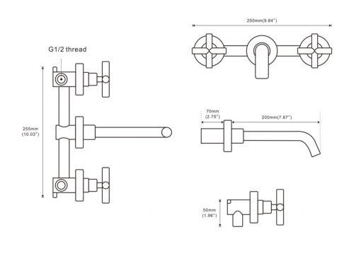 Dvoj-kohútiková kúpeľňová Batéria - rôzne varianty