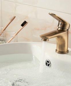 Zlatá umývadlová batéria do kúpeľne - Ledeme S40