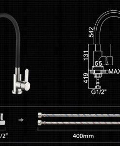 Čierna kuchynská batéria Ledeme - L7404 - 4 variácie
