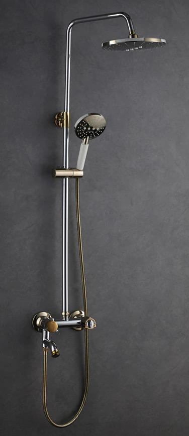 Chrómovo-zlatý sprchový set - X99