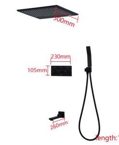 Zabudovateľný čierny sprchový set - GP23