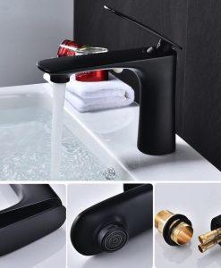 Čierna minimalistická kúpeľňová batéria – YSBF7
